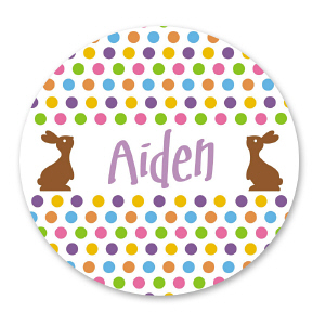Personalized Brown Easter Bunny Stickers