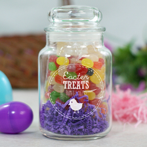 Engraved Easter Treats Glass Candy Jar