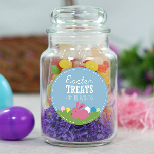 Personalized Easter Treats Glass Candy Jar