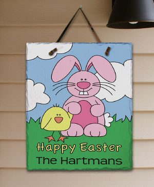 Personalized Happy Easter Slate Plaque