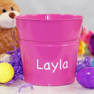 Personalized Pink Easter Bucket