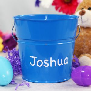 Personalized Blue Easter Bucket
