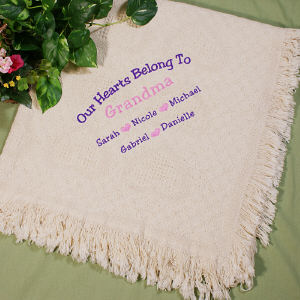 Our Hearts Belong To...Embroidered Afghan | Grandma Gifts