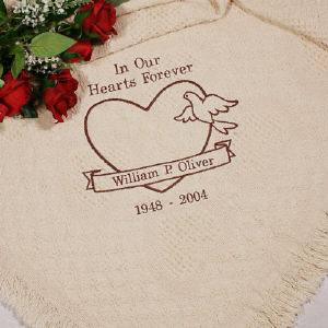 Personalized In Our Hearts Memorial Afghan | Personalized Afghan