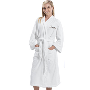 Embroidered  terry cloth velour Bathrobe