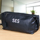 Embroidered Black Leather Toiletry Bag