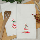 Embroidered Candy Cane Kitchen Towel Set