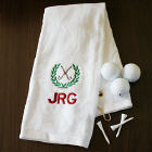 Embroidered White Golf Towel with Initials