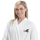 Embroidered Initial White Cotton Bath Robe