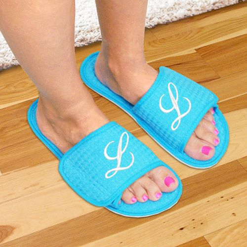 Embroidered Initial Slippers E3158145X
