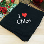 Embroidered I Love You Fleece Throw Blanket