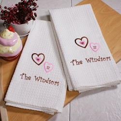 Embroidered Chocolate Hearts Waffle Kitchen Towels
