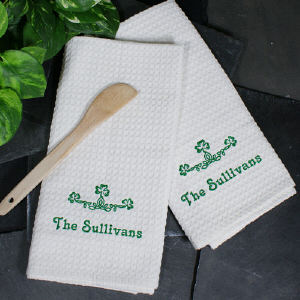 Embroidered Irish Kitchen Towels