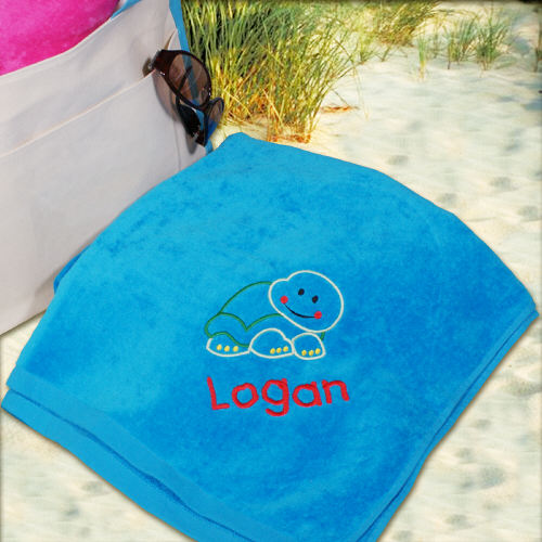 Embroidered Turtle Blue Beach Towel
