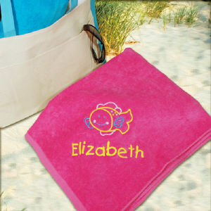 Embroidered Fish Pink Beach Towel