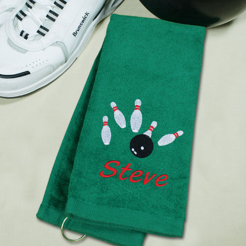 Embroidered Green Bowling Towel E34841GN