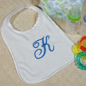 Embroidered Name or Initial Baby Bib