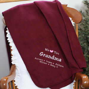 Embroidered We Love You Throw Blanket E41552X