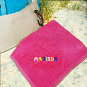 Embroidered Pastel Name Pink Beach Towel E435301PK