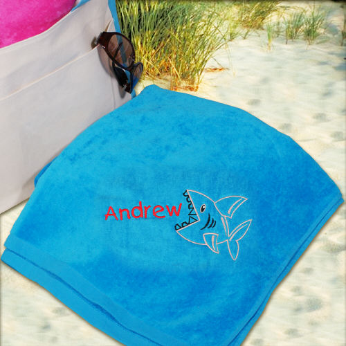 Embroidered Shark Beach Towel E438531BL
