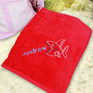 Embroidered Shark Beach Towel