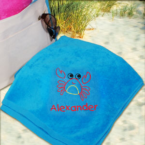 Embroidered Crab Blue Beach Towel E438631BL