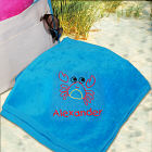 Embroidered Crab Beach Towel