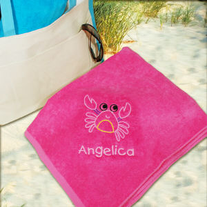 Embroidered Crab Pink Beach Towel E438931PK