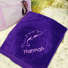 Embroidered Dolphin Beach Towel