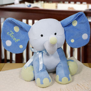 Embroidered Blue Polka Dot Elephant