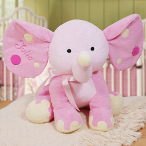 Embroidered Pink Polka Dot Elephant