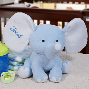 Embroidered Blue Plush Elephant | Personalized Baby Gifts