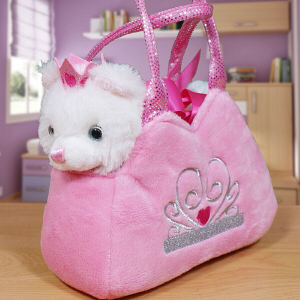 Embroidered Fancy Pals Plush Kitten Carrier