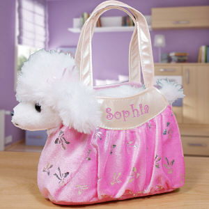 Embroidered Fancy Pals Plush Poodle Carrier