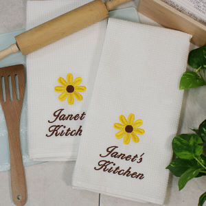 Embroidered Sunflower Kitchen Towel Set
