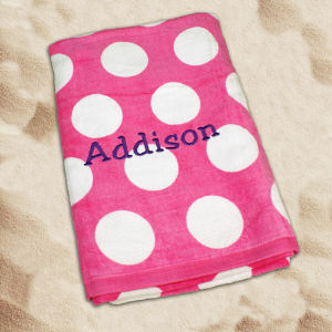 Embroidered Pink Polka Dot Beach Towel E675481