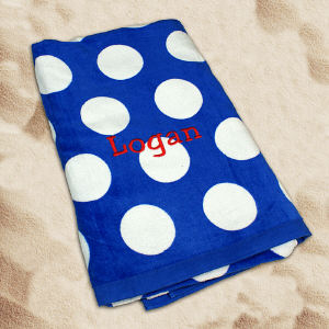 Embroidered Royal Blue Polka Dot Beach Towel E675482