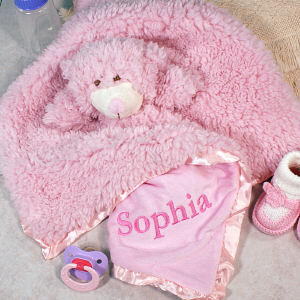 Embroidered Cuddle Bud Pink Bear Blanket