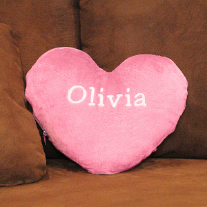 Embroidered Heart Shaped Pillow