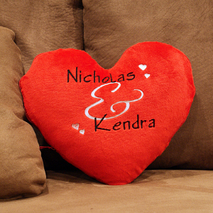 Embroidered Couples Heart Shaped Pillow