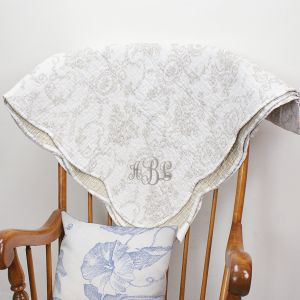 Embroidered Silver Toile Quilt