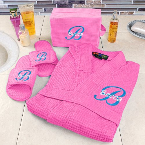 Embroidered Hot Pink Spa Gift Set | Embroidered Spa Robes