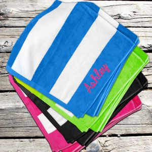 Embroidered Striped Cabana Beach Towel E7681130X