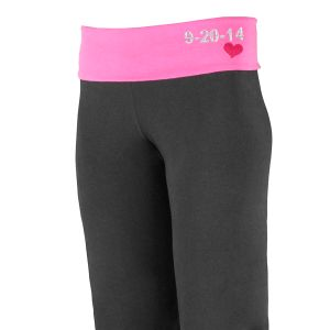Embroidered Wedding Date Ladies Yoga Pant E7686124X
