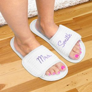 Embroidered Newlywed Slippers | Personalized Newlywed Gifts