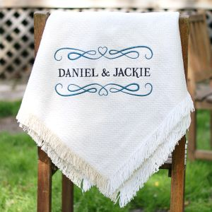 Embroidered Couples Afghan Throw