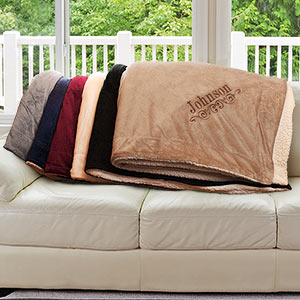 Embroidered Sherpa Blanket E9610184