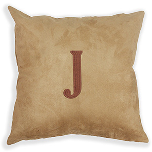 Embroidered Single Initial Suede Pillow E9914188