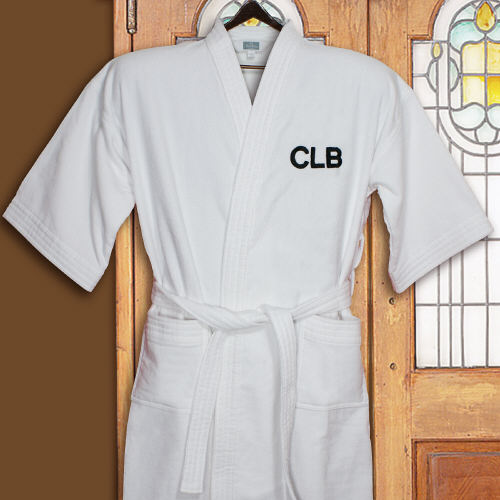 Embroidered White Cotton Bath Robe
