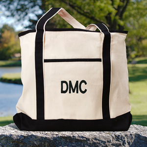 Embroidered Initials Canvas Tote Bag